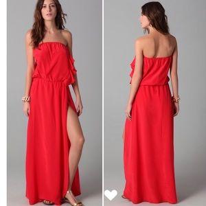 Karina Grimaldi silk strapless maxi dress S